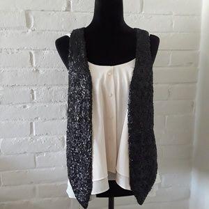 Black Sequined Tuxedo Vest
